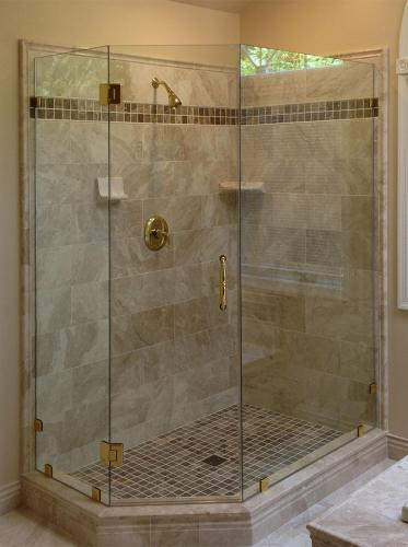 Brown's Glass Shop shower enclosure Bath beige brass clear