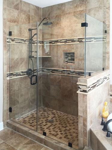 Brown's Glass Shop shower enclosure Bath brown black clear
