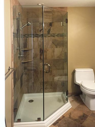 Brown's Glass Shop shower enclosure Bath coppertone nickel clear