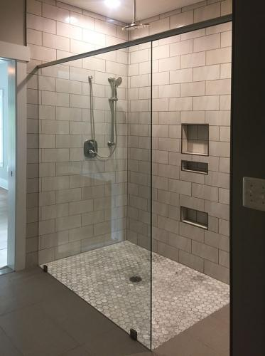 Brown's Glass Shop shower enclosure Bath gray clear simple framed