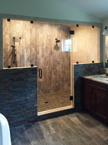 Brown's Glass Shop shower enclosure Bath khaki stone black clear
