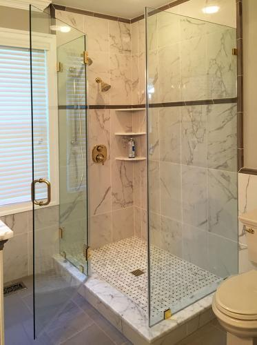 Brown's Glass Shop shower enclosure Bath marble brass clear