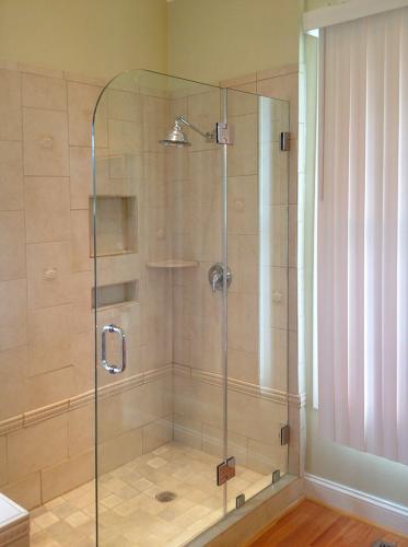 Brown's Glass Shop shower enclosure Bath rose-beige nickel clear custom-cut