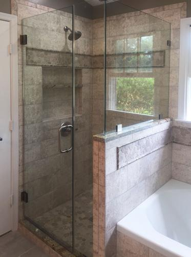 Brown's Glass Shop shower enclosure Bath stone nickel clear