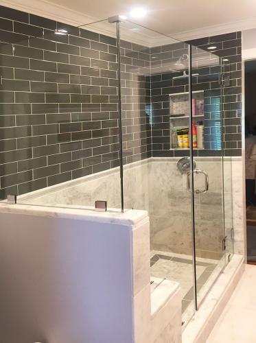 Brown's Glass Shop shower enclosure Bath white-dark-gray nickel clear 01