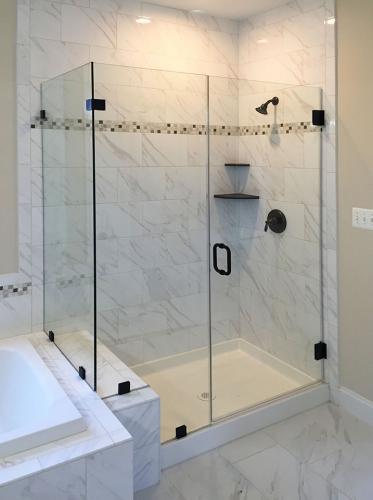 Brown's Glass Shop shower enclosure Bath white-marble black clear