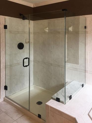 Brown's Glass Shop shower enclosure Bath white-marble-brown black clear
